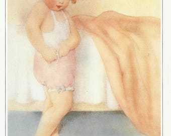Bessie Pease Gutmann Vintage Wall Art, Delightful Infant Baby Nursery Decor, Girls Room Wall Hanging, Collectible Book Page