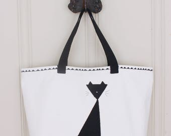 Triangle Cat Tote - Black Cat Tote Bag - Lined Tote Bag with Pocket - Ready to Ship