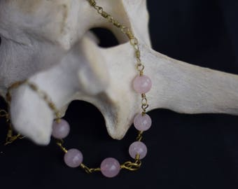Rose Quartz and Gold Chain Necklace