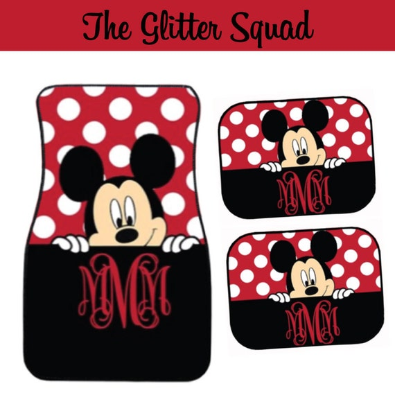 Black And Red Peeking Mickey Mouse Inspired Car Mat / Car Mat
