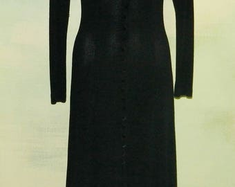 S 80s Nicole Studio New York Black Knit Sweater Dress Stretchy Curve Hugging Sweater Girl Soft Boucle Princess Seamed Made In The U.S.A