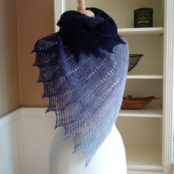 Lace Shawl Knitting Pattern PDF Mistral Shawl French
