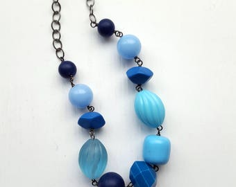 blue grotto necklace - blue, monochromatic, statement, chunky, vintage beads and brass