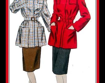 Vintage 1940s-VOGUE SPECIAL DESIGN-Sewing Pattern-Lined Coat-Shaped Shoulder Yokes-Pockets-Turn-Over Collar-Pencil Skirt-Size 16-Mega Rare