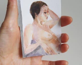 watercolor figure painting ACEO art nudity