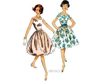 50s Dress Pattern Advance 9004, Swing or Bubble Skirt Party Dress, Scoop Back, One Piece, Underskirt, Vintage Sewing Pattern