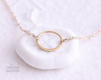 Dainty Gold Necklace, Delicate Simple Gold, Open Circle, Gift for Her, Eternity, Bridesmaids Gift, Layer Necklace, Christina Guenther