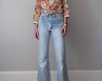 70s pink watercolor floral blouse sheer top shirt (m - l)