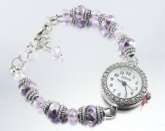 Beaded Bracelet Watch - Lavender, Lilac and Pink Crystal Glass Bracelet Watch