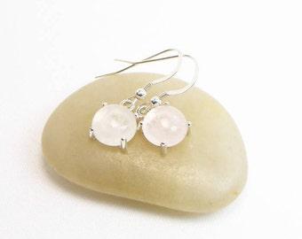 Rose Quartz Earrings - 10MM - Dangle Earrings - Cabochon Earrings - Sterling Silver - Genuine Gemstones - Gift