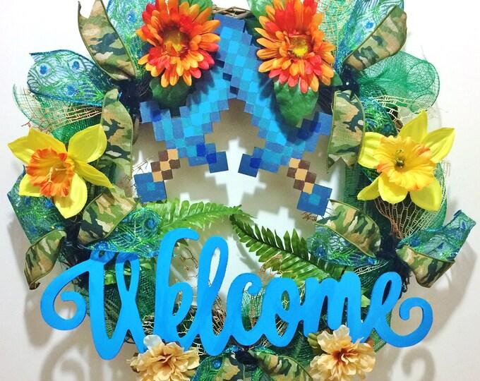 Pixel Swords Minecraft Games Gaming- Welcome Door Grapevine Wreath