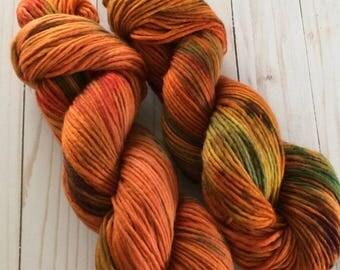 "200 yards Hand Painted Heavy Worsted/ Aran Weight Yarn, Knitting Yarn, Crochet Yarn, Singles, ""Orange Bliss OOAK"" Superwash Merino Single"
