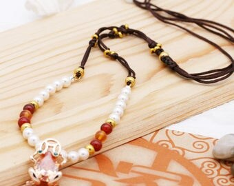 Inspiration and wealth necklace - carnelian, and crystal frog pendant