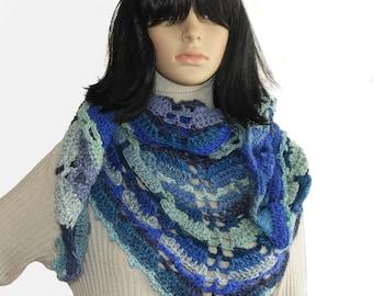 Crochet Wrap, Blue Crochet Lace Shawl Wrap Scarf Triangular Crochet Women's Shawl Wrap in Ocean Blue tones