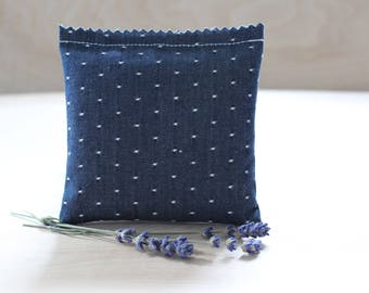 Herbal Pillow Indigo Chambray, Organic Hops, Sweet Marjoram, Mugwort Dream Pillow Sachet