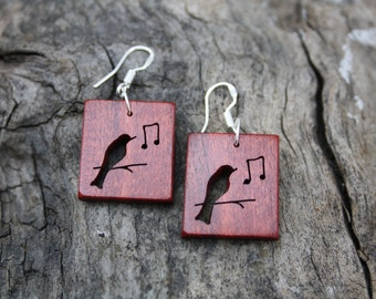 Wooden Bird Earrings, Handcarved Pink Ivory Songbird Earrings, Unique Natural Wood Jewelry, Perfect Wood Gift For Her