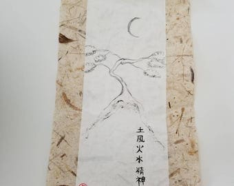 Earth air fire water spirit in Japanese Calligraphy on a white scroll with a tree and moon