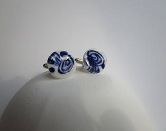 925 solid Silver Cuff links in blue and white porcelain  - Hand made and  Hand painted  and unique