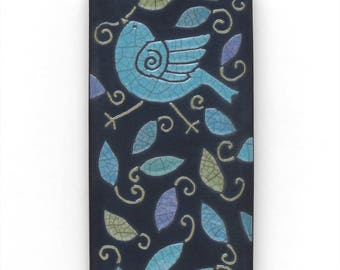 Bird,Ceramic tile,Whimsical, handmade, wall art, home decor 3x6 inch raku fired art tile