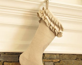 Linen Christmas Stocking Stockings Ruffle Top Better Homes and Gardens