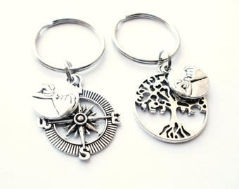 SALE -Pinky Promise Keyring -Silver Compass Keyring -Silver Tree of Life Keyring -Couple Keyrings -Best Friends Keyrings -Bridesmaids Gift