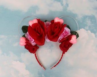 Valentines Mickey Ears   Mickey Ears   Mickey Ear Headband   Floral Mickey Ears   Queen of Heart Ears