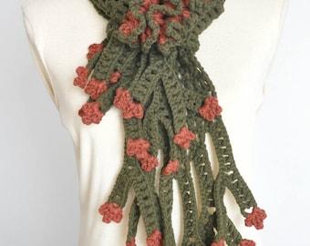 Coral - Green - Crochet Cotton Yarn Scarf