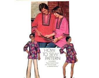 Dashiki Top or Mini Dress Pattern Simplicity 5828 Hippie Tunic Women Size 16 or Men Medium