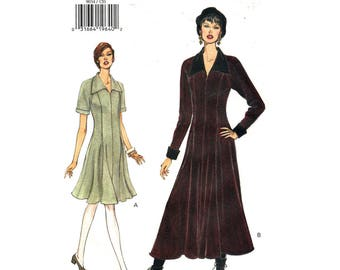 Flared Dress Pattern Vogue 9034 Above Ankle Raglan Dress Long Sleeves Collar Easy Sewing Pattern Womens Size 12 14 16 UNCUT