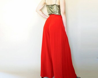 vintage red YVES SAINT LAURENT wide leg trousers S