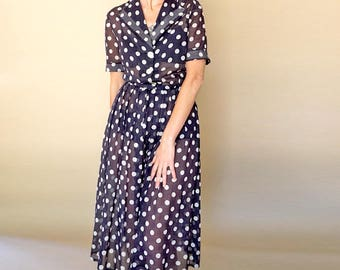 vintage 50s navy + white POLKA dot PIN UP sheer fit and flare dress M
