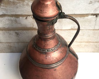 Antique Turkish Copper Water Jug Vintage Copper Pot  Middle East Copper Pitcher  Trabzon Copper Jug