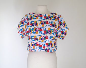 HANNAH // bright 80s printed crop with open back