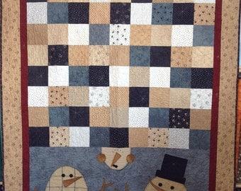 Snowmen 3 lap quilt kit primitive gathers fabrics