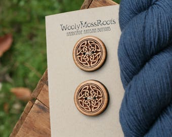 2 Celtic Knot Buttons- Cherry Wood- Wooden Buttons- Eco Craft Supplies, Eco Knitting Supplies, Eco Sewing Supplies