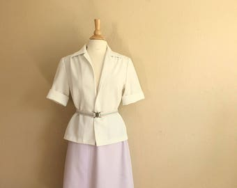 Vintage LILAC And White Shirt & Skirt With Matching PASTEL RAINBOW Belt / 1960s Fire Islander Woman 2 Piece Set / Womens Medium Large