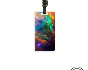 Luggage Tag Space Nebula ,  Personalized Metal Tag, Single Tag   Custom information on Backs
