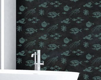 Deep Sea Creatures Allover Stencil - Better than Wallpaper - Easy to Use!