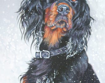 GORDON SETTER dog art PORTRAIT canvas print of LAShepard painting 8x10""