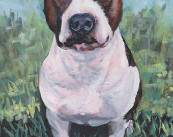 "American STAFFORDSHIRE TERRIER dog portrait art canvas PRINT of LAShepard painting 12x16"" amstaff"