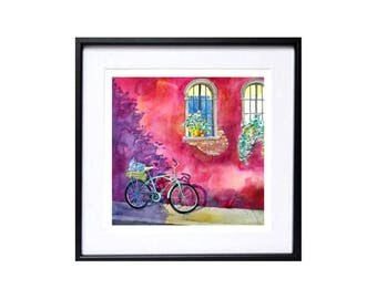 Bright colored bike Urban art cityscape Citysearch Bicycle landscape watercolor print Travel artwork Bicycle wall art Town bikes Cycling art
