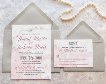 Conservatory Pink and Gray Marble Wedding Invitations - Modern Wedding - Formal Wedding - Conservatory Wedding - Museum Wedding