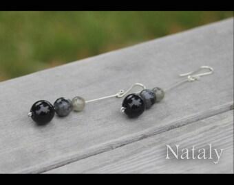 Black Earrings for Women Bar Earrings Labradorite Earrings, Minimal Earrings, Sterling Silver Long Earrings, Dainty Earrings Dangle Earrings