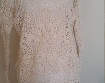 vintage crochet sweater, beige lace sweater, floral crochet, scalloped edge, long crochet jumper