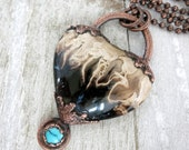 Fossilized Palm Wood Heart Necklace, Turquoise Accent, Electroformed Copper,  Unique Handmade Pendant and Chain