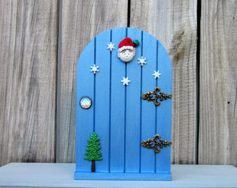Fairy Door, Christmas, Elf Prop, Holiday Decor, Blue, Painted Wood, Christmas Decor, Elf, Fairy, Indoor Fairy Door, Childs Gift