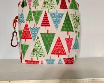 Knitting bag, sock Knitting project bag, craft bag, xmas, gifts for her, gifts for him, knitting, crochet, handmade  FIFTIES XMAS