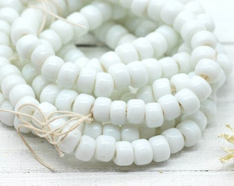 White Crow Beads,  100 Pieces,   9mm,  Glass Beads, Pony Beads, 3mm Hole -B136