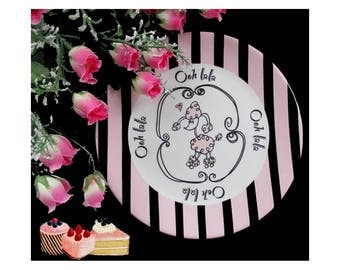 Pink Poodle Plate * GANZ Decorative Dish * Ooh Lala Plate * Pink And Black Plate * Cute Serving Dish