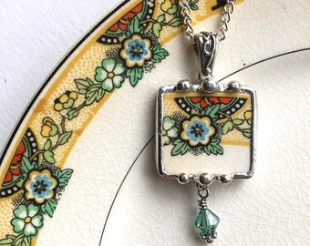 Broken china jewelry, pendant necklace, Art Deco, 1920, floral, antique china, green Swarovski crystal bead drop